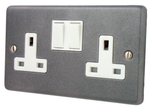 G&H CP10W Standard Plate Pewter 2 Gang Double 13A Switched Plug Socket